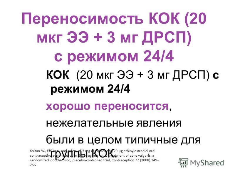 Переносимость КОК (20 мкг ЭЭ + 3 мг ДРСП) с режимом 24/4 КОК (20 мкг ЭЭ + 3 мг ДРСП) с режимом 24/4 хорошо переносится, нежелательные явления были в целом типичные для группы КОК. Koltun W., Effi cacy and safety of 3 mg drospirenone/20 μg ethinylestr