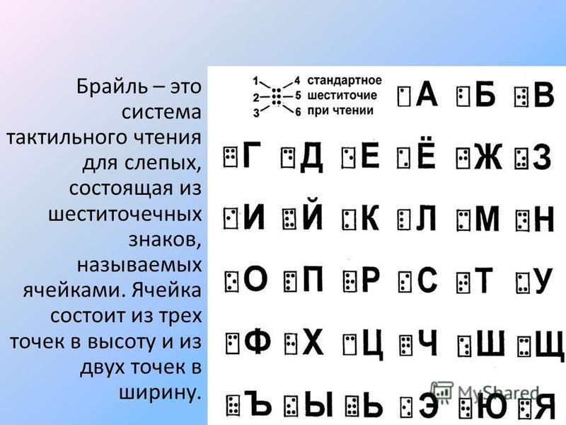 Брайль – это система тактильного чтения для слепых, состоящая из шести точечных знаков, называемых ячейками. Ячейка состоит из трех точек в высоту и из двух точек в ширину.