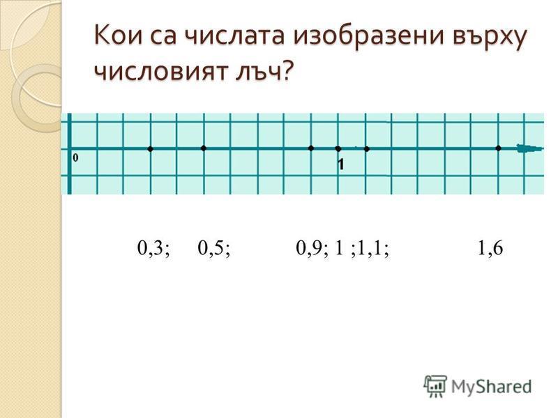 Изобразяване на естествени числа върху числов лъч D – Множеството на дробните числа : Десетични дроби – 2,5 ; 1,8 ; 6,5;... и т. н.