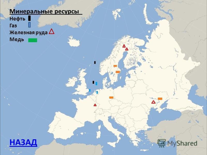 Минеральные ресурсы Нефть Газ Железная руда Медь НАЗАД