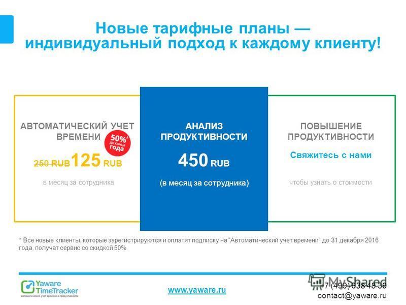 +7 (499) 638 48 39 contact@yaware.ru www.yaware.ru Новые тарифные планы индивидуальный подход к каждому клиенту! АВТОМАТИЧЕСКИЙ УЧЕТ ВРЕМЕНИ 250 RUB 125 RUB в месяц за сотрудника ПОВЫШЕНИЕ ПРОДУКТИВНОСТИ Свяжитесь с нами чтобы узнать о стоимости АНАЛ