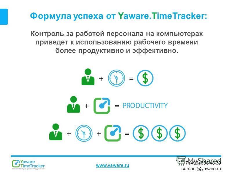 +7 (499) 638 48 39 contact@yaware.ru www.yaware.ru Формула успеха от Yaware.TimeTracker: Контроль за работой персонала на компьютерах приведет к использованию рабочего времени более продуктивно и эффективно.