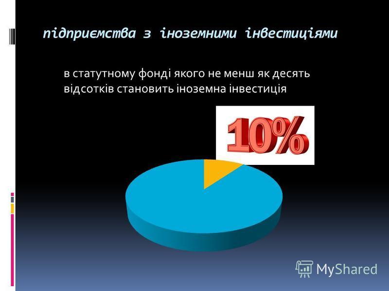 підприємства з іноземними інвестиціями в статутному фонді якого не менш як десять відсотків становить іноземна інвестиція