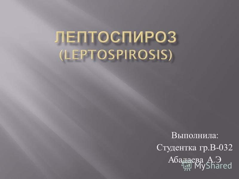 Выполнила : Студентка гр. В -032 Абадаева А. Э