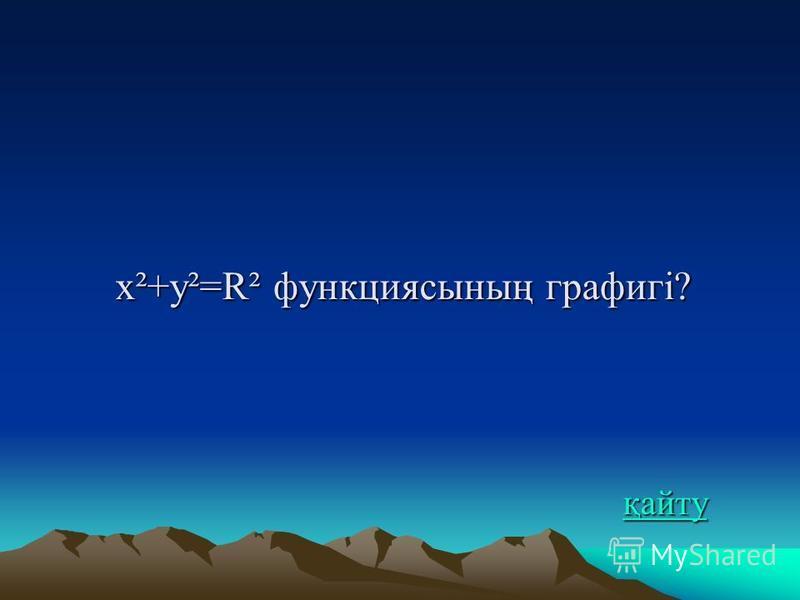 x²+y²=R² функциясының графигі? қайту қайту