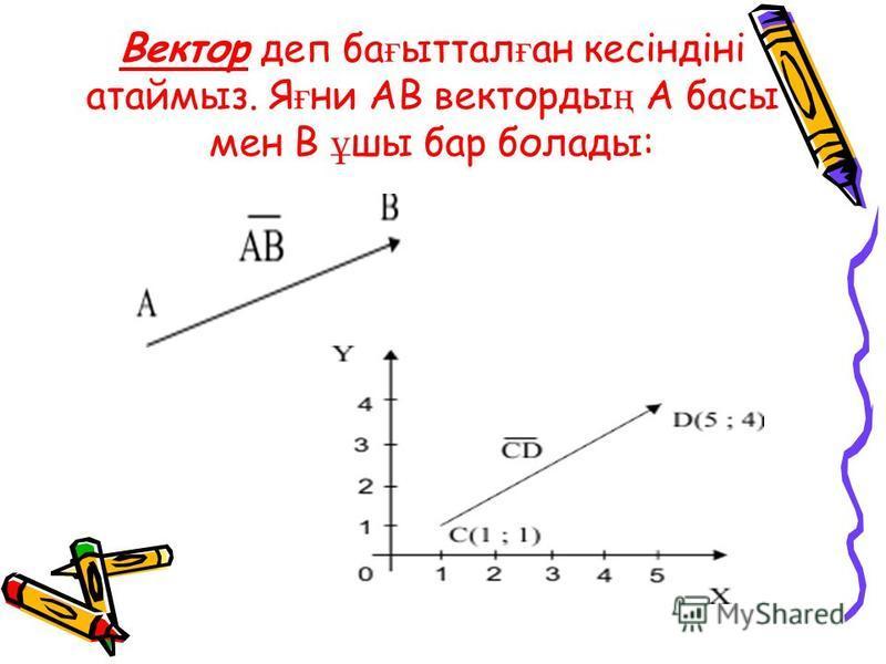 Вектор деп ба ғ ыттал ғ ан кесіндіні атаймыз. Я ғ ни AB векторды ң A басы мен B ұ шы бар болады: