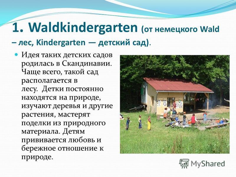 1. Waldkindergarten (от немецкого Wald – лес, Kindergarten детский сад). Идея таких детских садов родилась в Скандинавии. Чаще всего, такой сад располагается в лесу. Детки постоянно находятся на природе, изучают деревья и другие растения, мастерят по