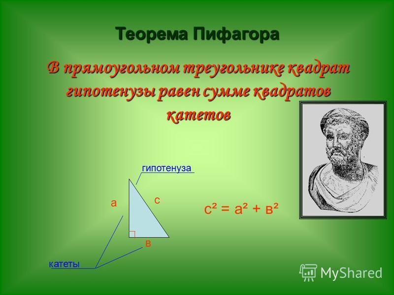 Теорема Пифагора В прямоугольном треугольнике квадрат гипотенузы равен сумме квадратов катетов а в катеты с с² = а² + в² гипотенуза