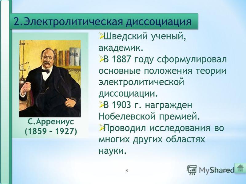 8 2. Электролитическая диссоциация