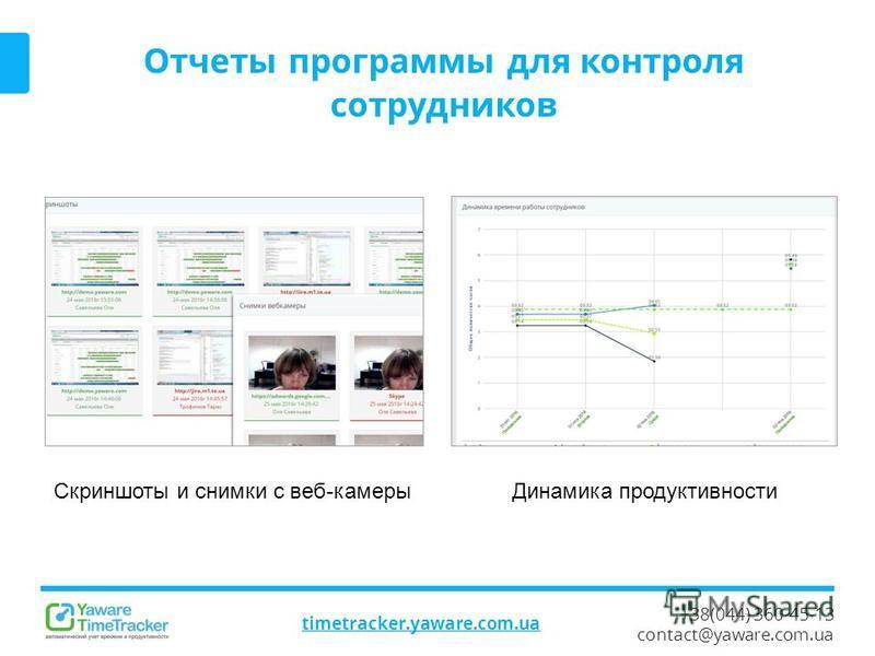 +38(044) 360-45-13 contact@yaware.com.ua timetracker.yaware.com.ua Отчеты программы для контроля сотрудников Динамика продуктивности Скриншоты и снимки с веб-камеры