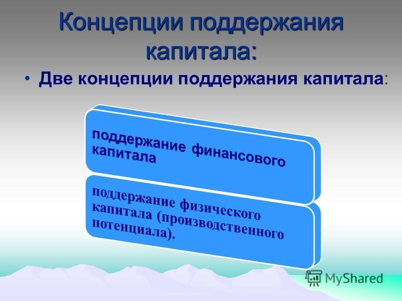 Концепции поддержания капитала: Две концепции поддержания капитала: