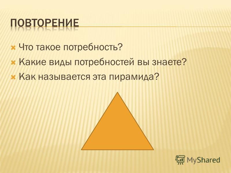 Что такое потребность? Какие виды потребностей вы знаете? Как называется эта пирамида?