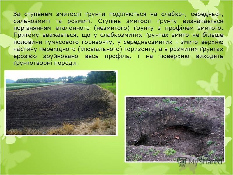 За ступенем змитості ґрунти поділяються на слабко-, середньо-, сильнозмиті та розмиті. Ступінь змитості ґрунту визначається порівнянням еталонного (незмитого) ґрунту з профілем змитого. Притому вважається, що у слабкозмитих ґрунтах змито не більше по