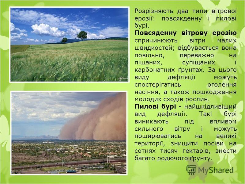 Розрізняють два типи вітрової ерозії: повсякденну і пилові бурі. Повсяденну вітрову ерозію спричинюють вітри малих швидкостей; відбувається вона повільно, переважно на піщаних, супіщаних і карбонатних ґрунтах. За цього виду дефляції можуть спостеріга
