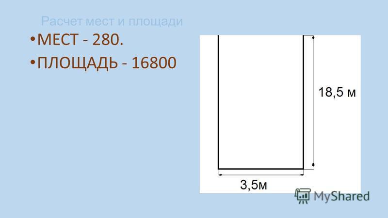 Расчет мест и площади МЕСТ - 280. ПЛОЩАДЬ - 16800