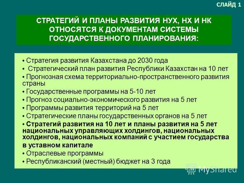 1. Стратегия развития Казахстана до 2030 года 2. Стратегический план развития Республики Казахстан на 10 лет, Прогнозная схема территориально-пространственного развития страны 3. Государственные программы на 5-10 лет 4. Прогноз социально-экономическо