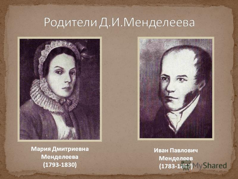 Мария Дмитриевна Менделеева (1793-1830) Иван Павлович Менделеев (1783-1847)