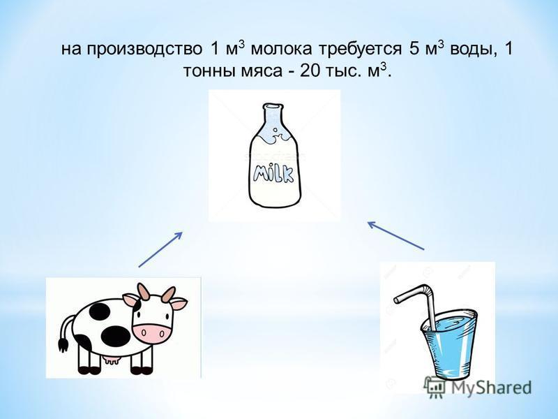 на производство 1 м 3 молока требуется 5 м 3 воды, 1 тонны мяса - 20 тыс. м 3.