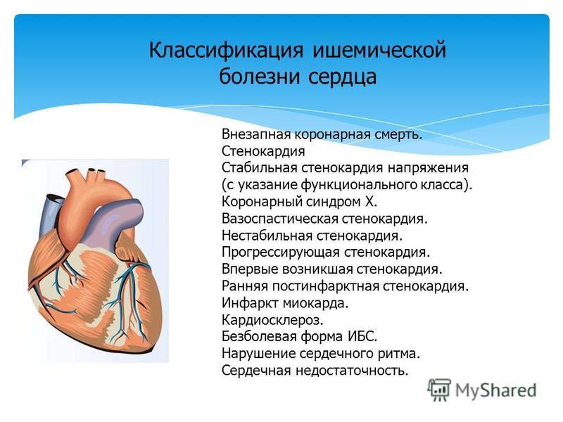Внезапная коронарная смерть. Стенокардия Стабильная стенокардия напряжения (с указание функционального класса). Коронарный синдром Х. Вазоспастическая стенокардия. Нестабильная стенокардия. Прогрессирующая стенокардия. Впервые возникшая стенокардия.