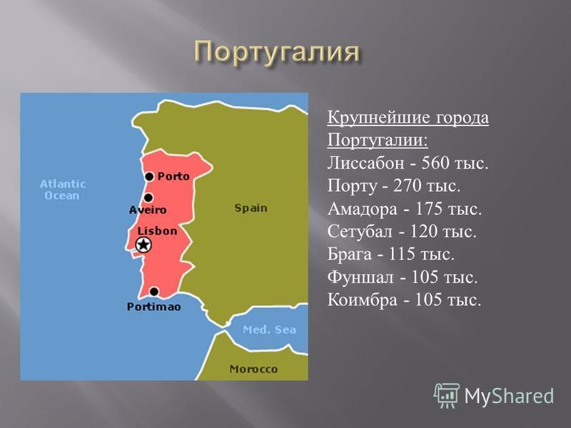 Крупнейшие города Португалии : Лиссабон - 560 тыс. Порту - 270 тыс. Амадора - 175 тыс. Сетубал - 120 тыс. Брага - 115 тыс. Фуншал - 105 тыс. Коимбра - 105 тыс.