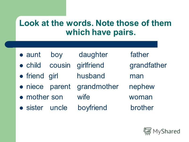 Look at the words. Note those of them which have pairs. aunt boy daughter father child cousin girlfriend grandfather friend girl husband man niece parent grandmother nephew mother son wife woman sister uncle boyfriend brother