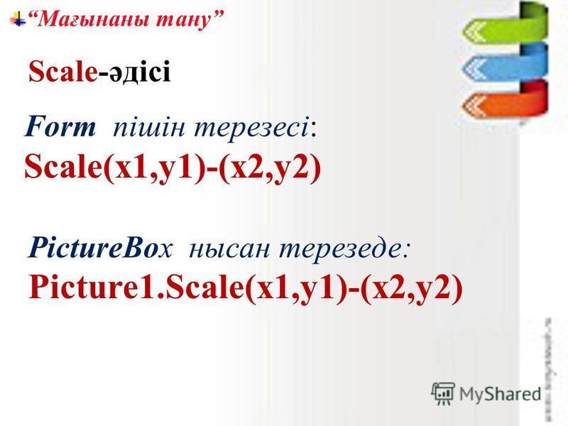 Мағынаны тану Form пішін терезесі: Scale(x1,y1)-(x2,y2) Scale-әдісі PictureBox нысан терезеде: Picture1.Scale(x1,y1)-(x2,y2)