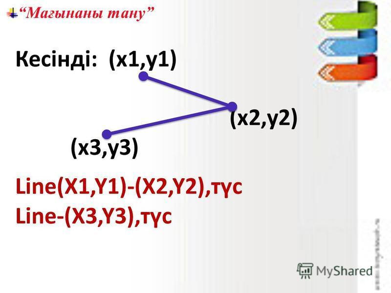 Мағынаны тану Кесінді: (х1,у1) (х2,у2) (х3,у3) Line(X1,Y1)-(X2,Y2),түс Line-(X3,Y3),түс