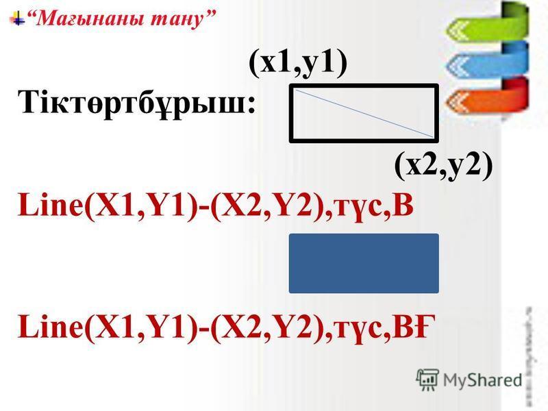 Мағынаны тану (х1,у1) Тіктөртбұрыш: (х2,у2) Line(X1,Y1)-(X2,Y2),түс,В Line(X1,Y1)-(X2,Y2),түс,ВҒ