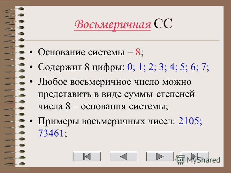 Восьмеричная СС Основание системы – 8; Содержит 8 цифры: 0; 1; 2; 3; 4; 5; 6; 7; Любое восьмеричное число можно представить в виде суммы степеней числа 8 – основания системы; Примеры восьмеричных чисел: 2105; 73461;