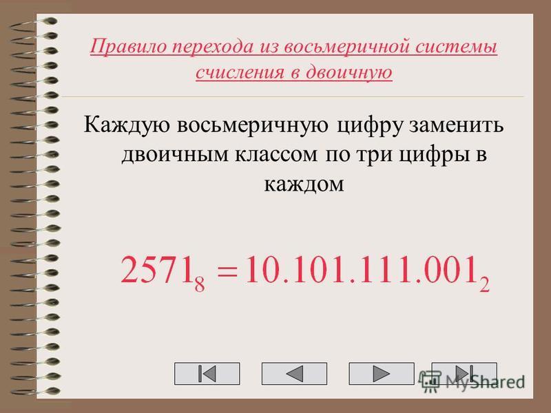 Правило перехода из восьмеричной системы счисления в двоичную Каждую восьмеричную цифру заменить двоичным классом по три цифры в каждом