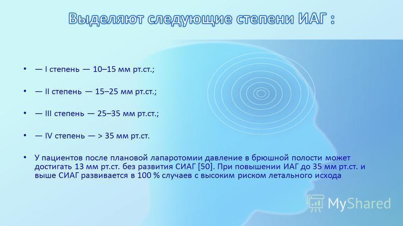I степень 10–15 мм рт.ст.; II степень 15–25 мм рт.ст.; III степень 25–35 мм рт.ст.; IV степень > 35 мм рт.ст. У пациентов после плановой лапаротомии давление в брюшной полости может достигать 13 мм рт.ст. без развития СИАГ [50]. При повышении ИАГ до