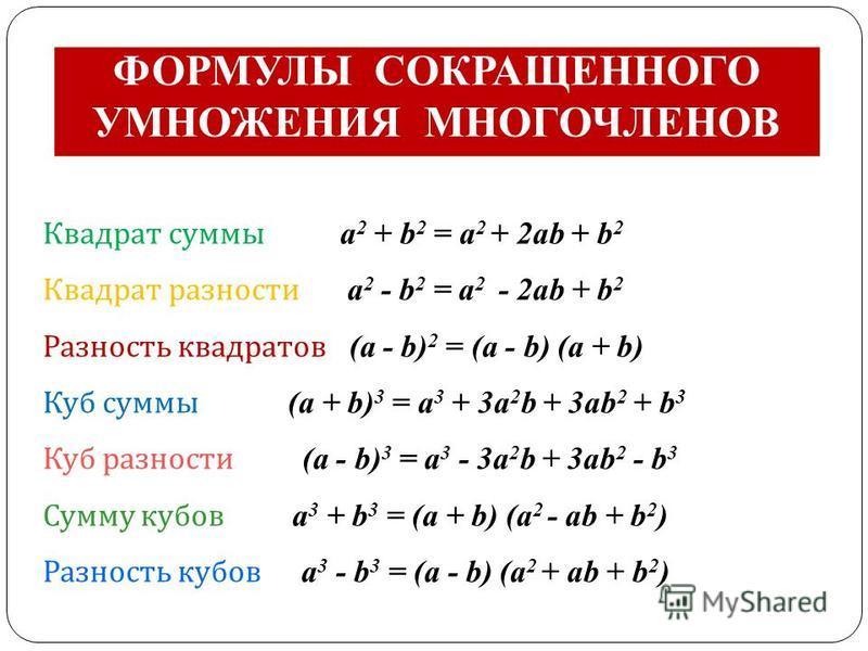 ФОРМУЛЫ СОКРАЩЕННОГО УМНОЖЕНИЯ МНОГОЧЛЕНОВ Квадрат суммы а 2 + b 2 = а 2 + 2 аb + b 2 Квадрат разности а 2 - b 2 = а 2 - 2 аb + b 2 Разность квадратов (а - b) 2 = (а - b) (а + b) Куб суммы (a + b) 3 = a 3 + 3a 2 b + 3ab 2 + b 3 Куб разности (a - b) 3