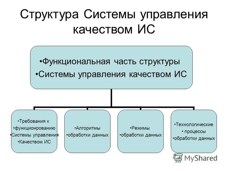 Структура Системы управления качеством ИС Функциональная часть структуры Системы управления качеством ИС Требования к функционированию Системы управления Качеством ИС Алгоритмы обработки данных Режимы обработки данных Технологические процессы обработ