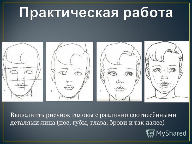 Выполнить рисунок головы с различно соотнесёнными деталями лица (нос, губы, глаза, брови и так далее)