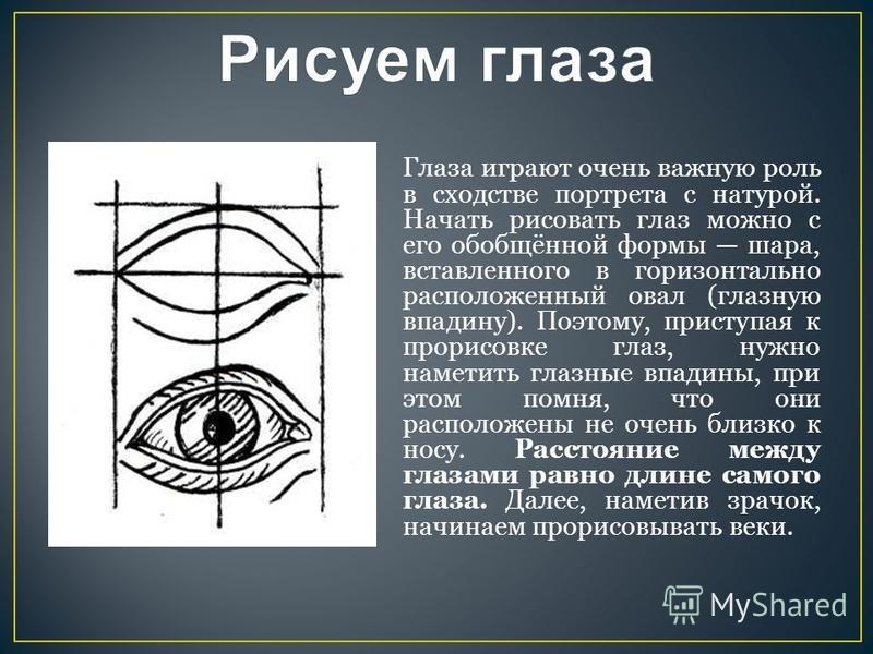 Глаза играют очень важную роль в сходстве портрета с натурой. Начать рисовать глаз можно с его обобщённой формы шара, вставленного в горизонтально расположенный овал (глазную впадину). Поэтому, приступая к прорисовке глаз, нужно наметить глазные впа