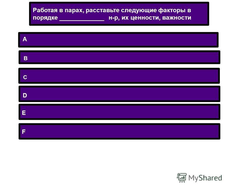 A B C D E F Работая в парах, расставьте следующие факторы в порядке _____________ н-р, их ценности, важности