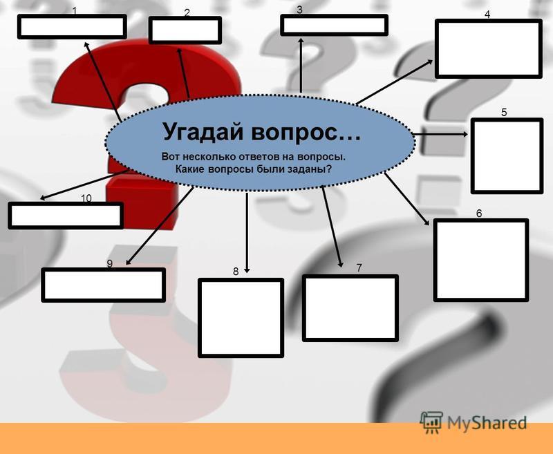 Угадай вопрос… Вот несколько ответов на вопросы. Какие вопросы были заданы? 1 2 3 4 5 6 7 8 9 10