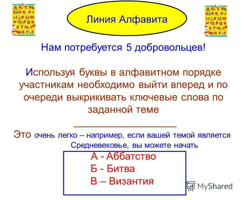 Alphabet Line Нам потребуется 5 добровольцев! Используя буквы в алфавитном порядке участникам необходимо выйти вперед и по очереди выкрикивать ключевне слова по заданной теме __________________ Это очень легко – например, если вашей темой является Ср
