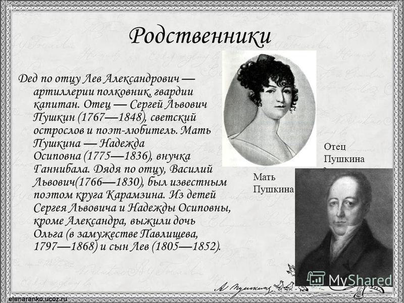Происхождение Происхождение Александра Сергеевича Пушкина идёт от разветвлённого нетитулованного дворянского рода Пушкиных, восходившего по генеалогической легенде к «мужу честно» Ратше. Пушкин неоднократно писал о своей родословной в стихах и прозе;