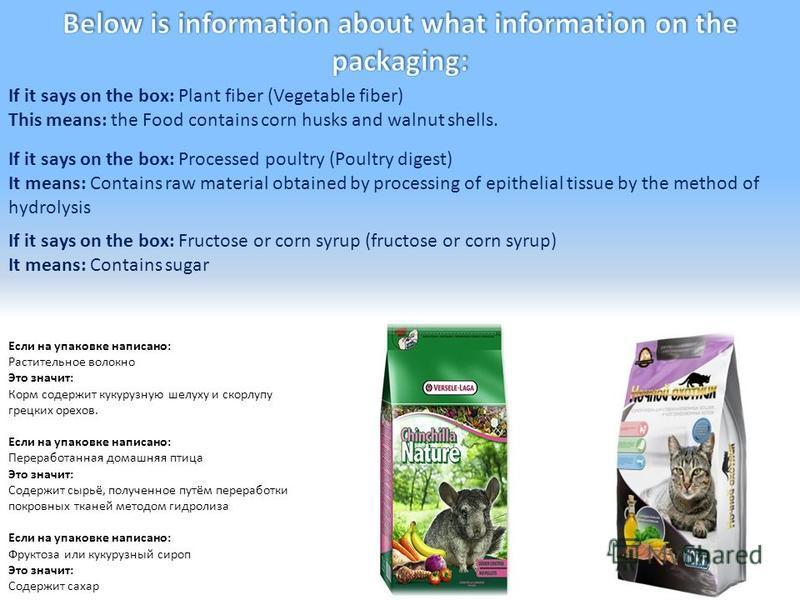 Если на упаковке написано: Растительное волокно Это значит: Корм содержит кукурузную шелуху и скорлупу грецких орехов. Если на упаковке написано: Переработанная домашняя птица Это значит: Содержит сырьё, полученное путём переработки покровных тканей
