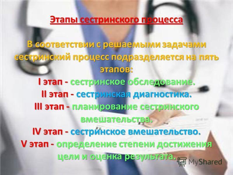 Этапы сестринского процесса В соответствии с решаемыми задачами сестринский процесс подразделяется на пять этапов: I этап - сестринское обследование. II этап - сестринская диагностика. III этап - планирование сестринского вмешательства. IV этап - сес