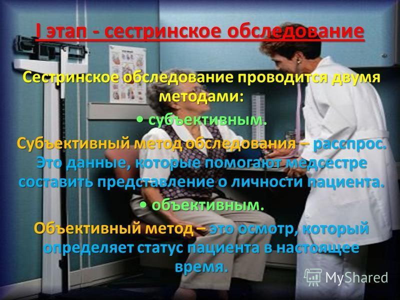 I этап - сестринское обследование Сестринское обследование проводится двумя методами: субъективным. субъективным. Субъективный метод обследования – расспрос. Это данные, которые помогают медсестре составить представление о личности пациента. объектив