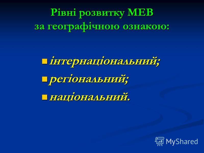 Рівні розвитку МЕВ за географічною ознакою: інтернаціональний; інтернаціональний; регіональний; регіональний; національний. національний.