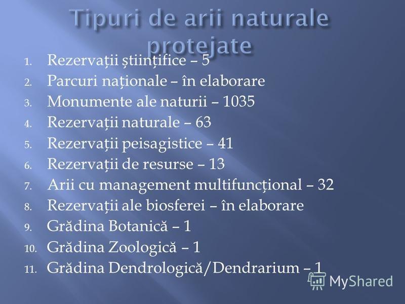 1. Rezervaii tiinifice – 5 2. Parcuri naionale – în elaborare 3. Monumente ale naturii – 1035 4. Rezervaii naturale – 63 5. Rezervaii peisagistice – 41 6. Rezervaii de resurse – 13 7. Arii cu management multifuncional – 32 8. Rezervaii ale biosferei