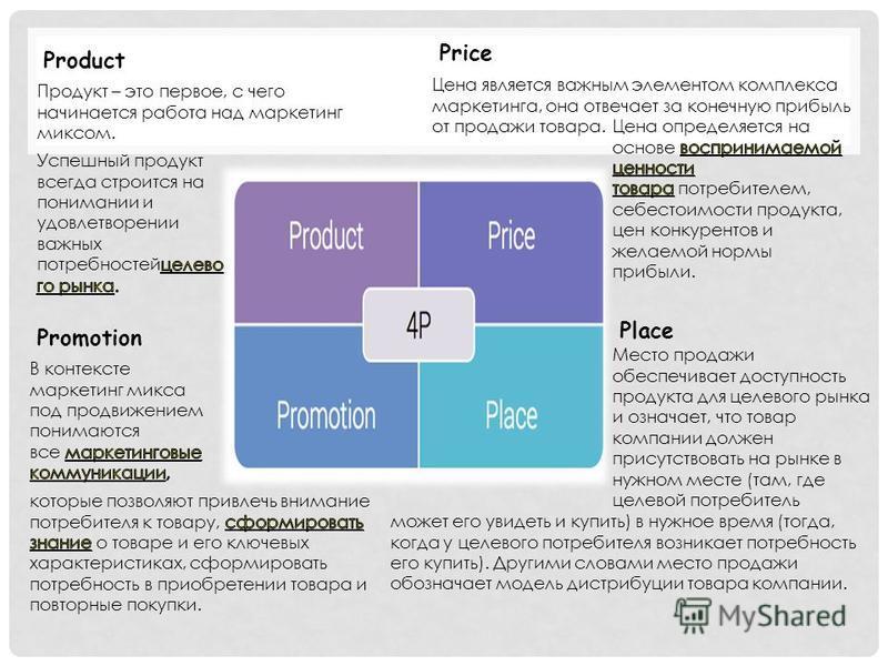 Product Price Цена является важным элементом комплекса маркетинга, она отвечает за конечную прибыль от продажи товара. Place Место продажи обеспечивает доступность продукта для целевого рынка и означает, что товар компании должен присутствовать на ры