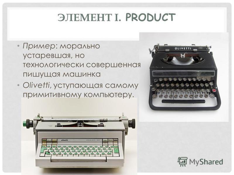 ЭЛЕМЕНТ I. PRODUCT Пример: морально устаревшая, но технологически совершенная пишущая машинка Olivetti, уступающая самому примитивному компьютеру.