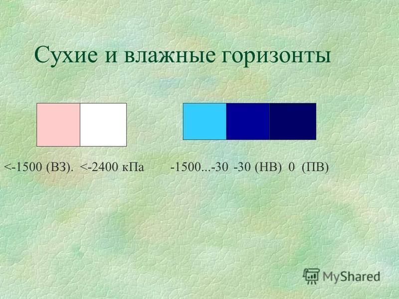 Сухие и влажные горизонты <-1500 (ВЗ). <-2400 к Па -1500...-30 -30 (НВ) 0 (ПВ)