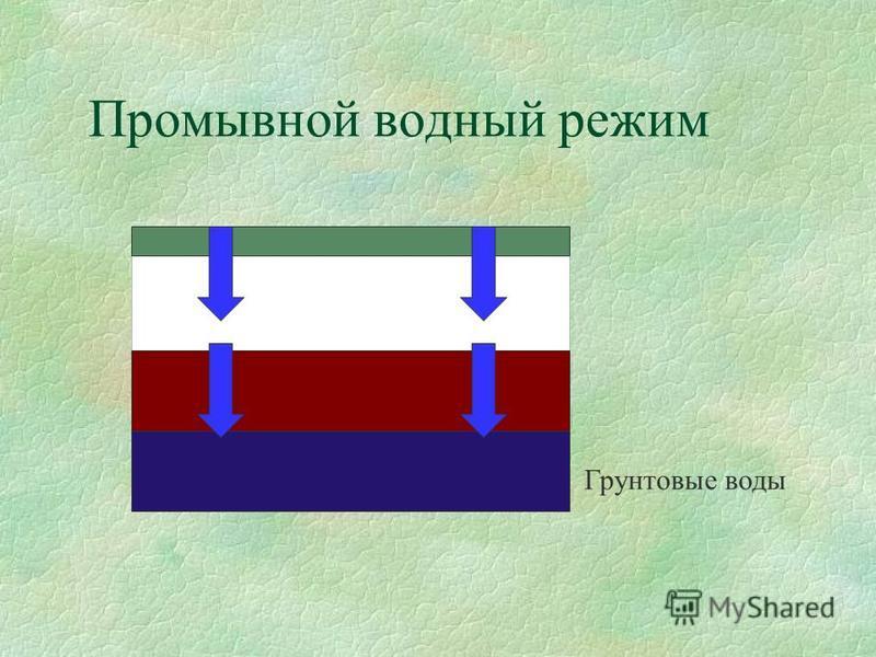 Промывной водный режим Грунтовые воды