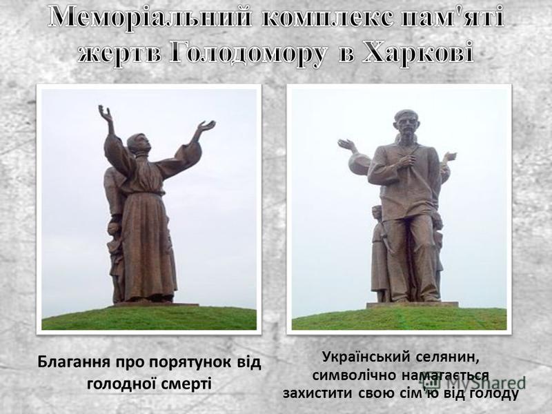 Благання про порятунок від голодної смерті Український селянин, символічно намагається захистити свою сім'ю від голоду