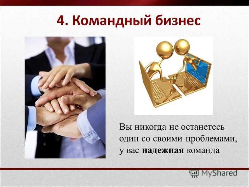 4. Командный бизнес Вы никогда не останетесь один со своими проблемами, у вас надежная команда